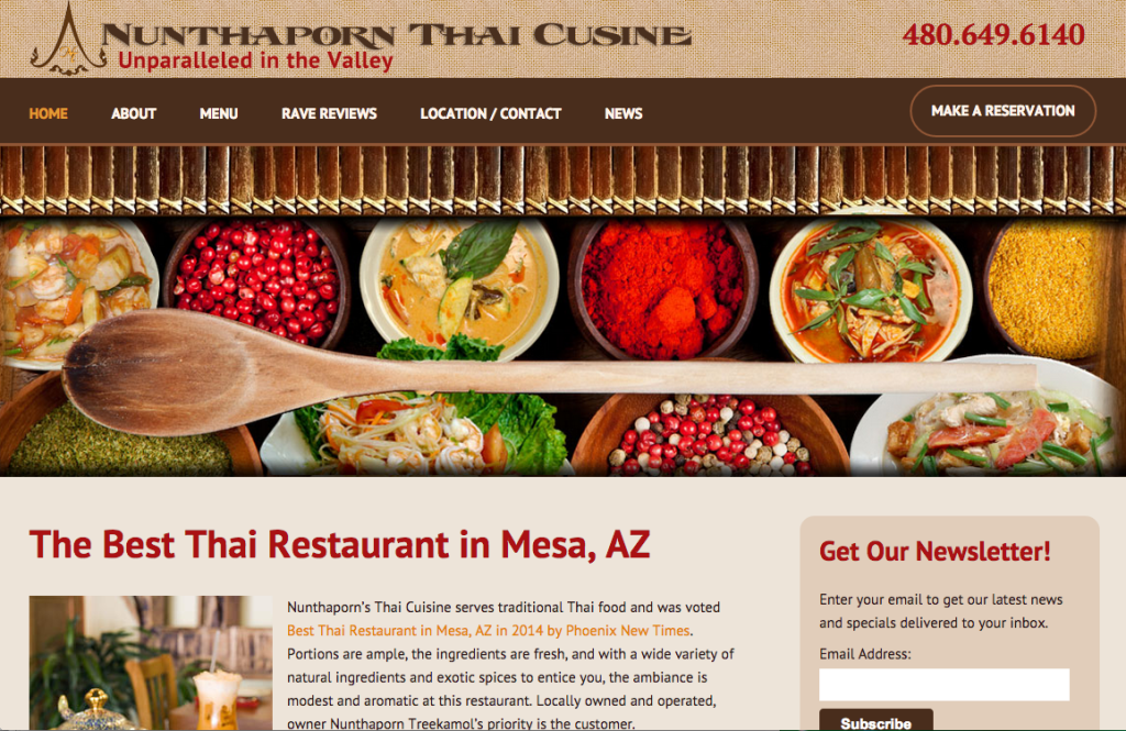 910 West's Restaurant Website Design: Nunthaporn's Thai Cuisine Unveils New Website