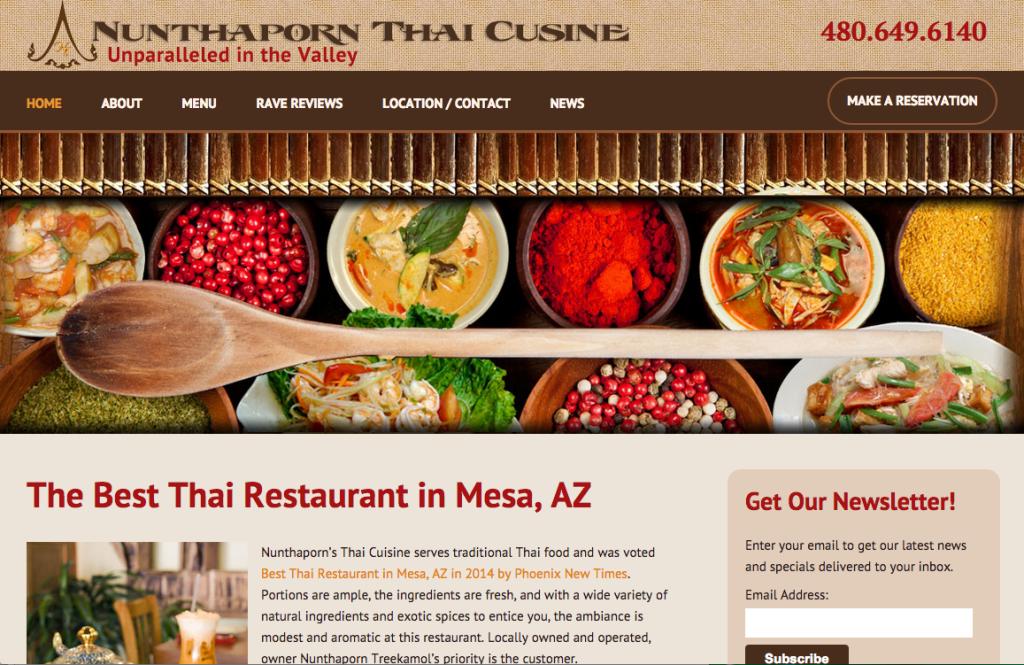 910 West's Restaurant Website Design: Nunthaporn's Thai Cuisine Unveils New Website